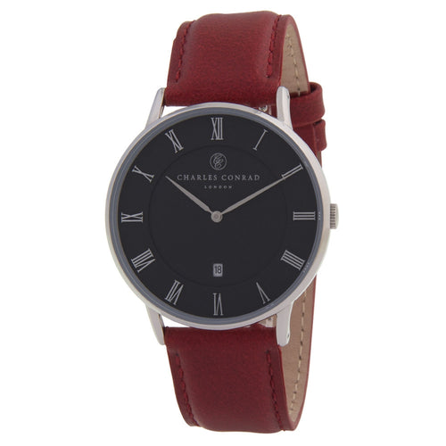 Charles Conrad Black & Red Leather Unisex Watch CC01014