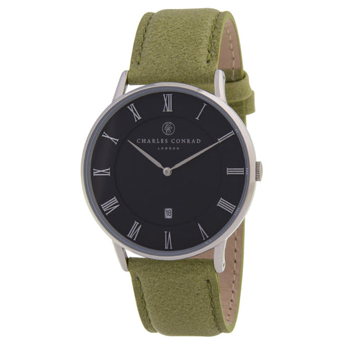 Charles Conrad Black & Green Leather Watch CC01016