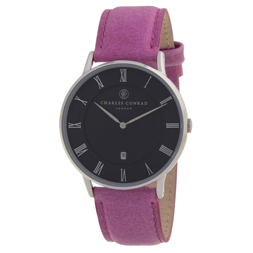 Charles Conrad Black & Pink Leather Unisex Watch CC01017