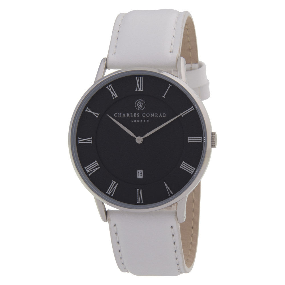 Charles Conrad White Leather Unisex Watch CC01018
