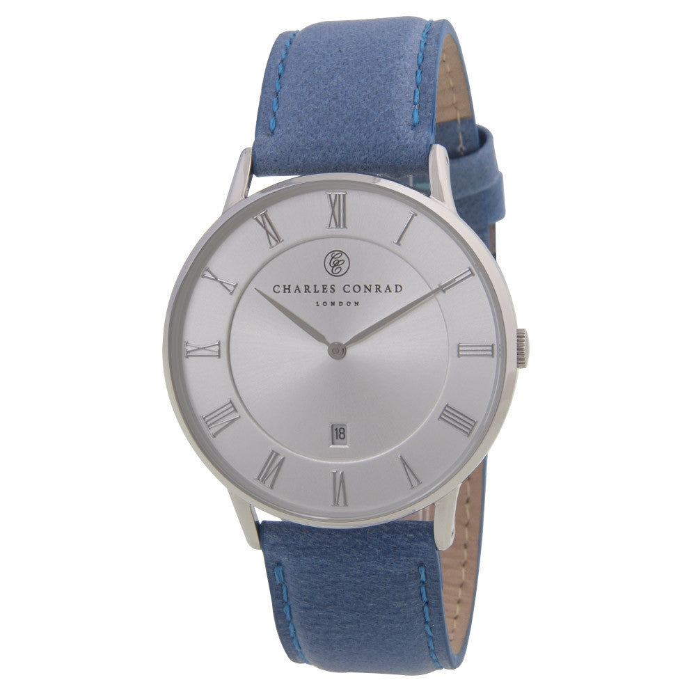 Charles Conrad Silver & Blue Leather Unisex Watch CC01023