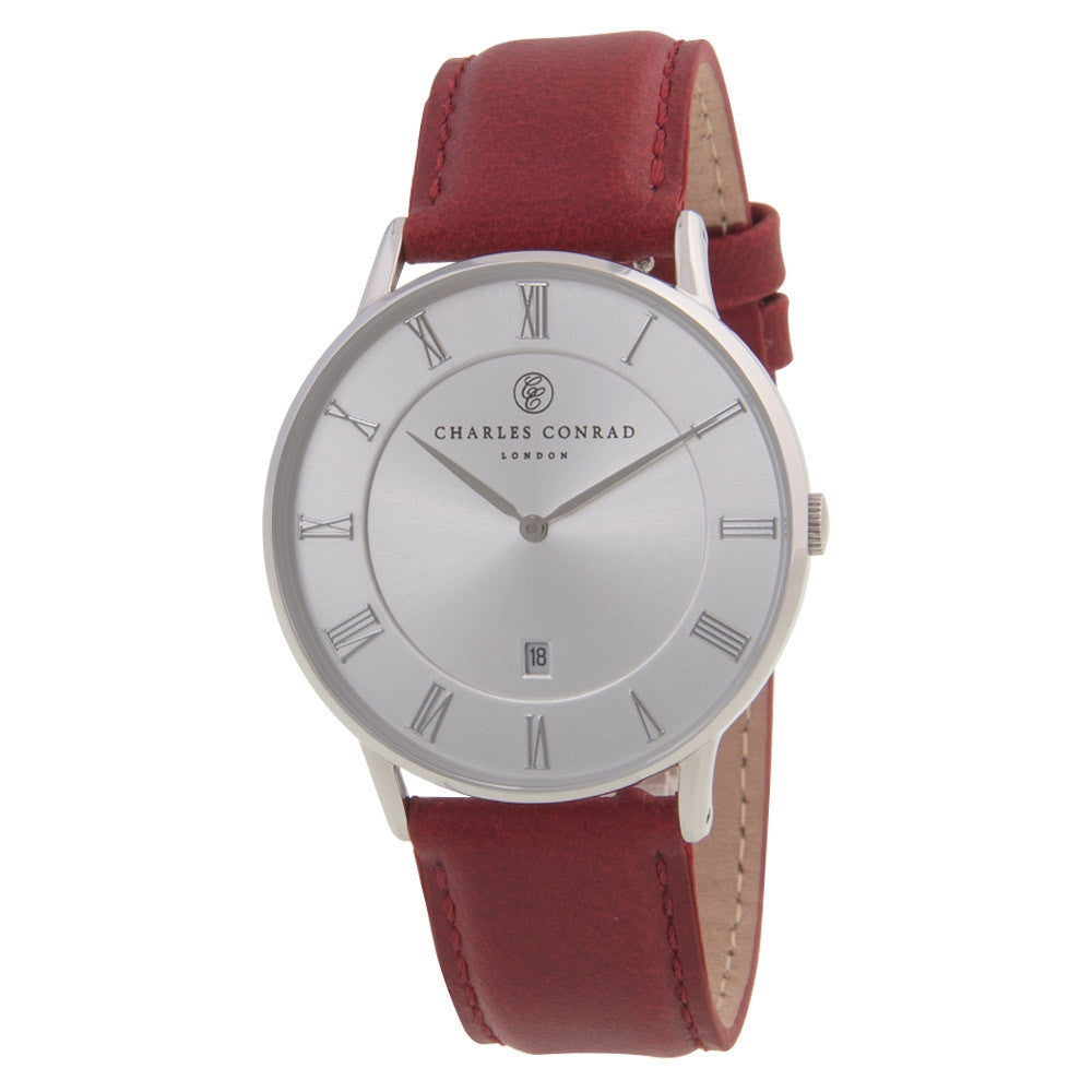 Charles Conrad Silver & Red Leather Watch CC01025