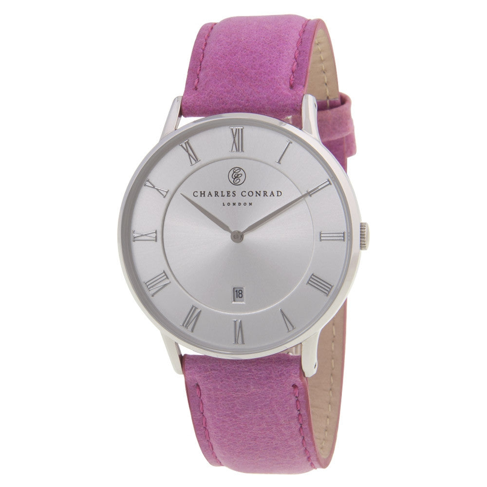 Charles Conrad Silver & Pink Leather Watch CC01028