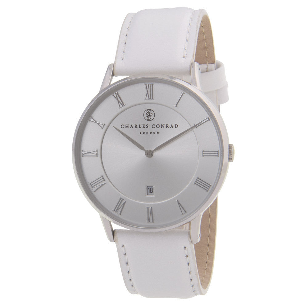 Charles Conrad Silver & White Unisex Leather Watch CC01029