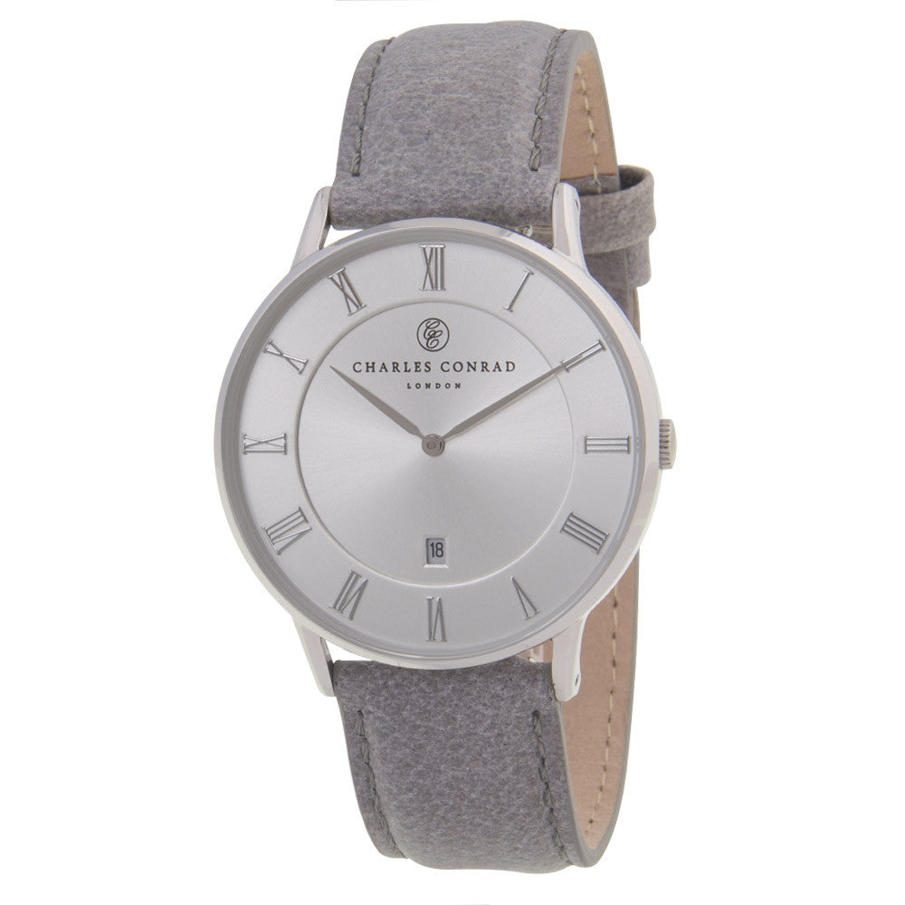 Charles Conrad Silver & Grey Leather Watch CC01030