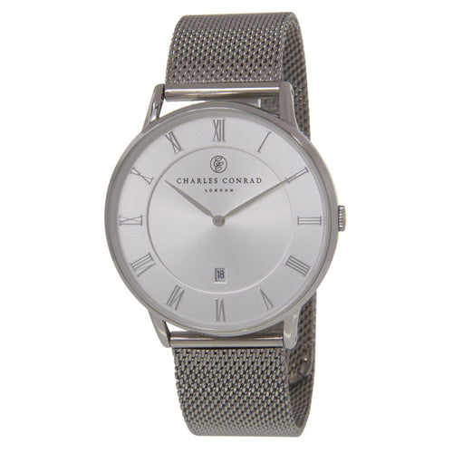 Charles Conrad Silver Mesh Watch CC01032 (Gold Clasp)