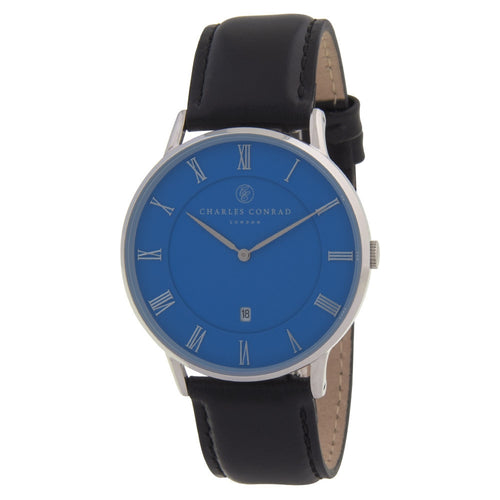 Charles Conrad Blue & Black Leather Watch CC01033