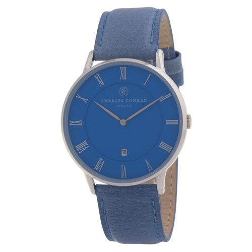 Charles Conrad All-Blue Unisex Leather Watch CC01034