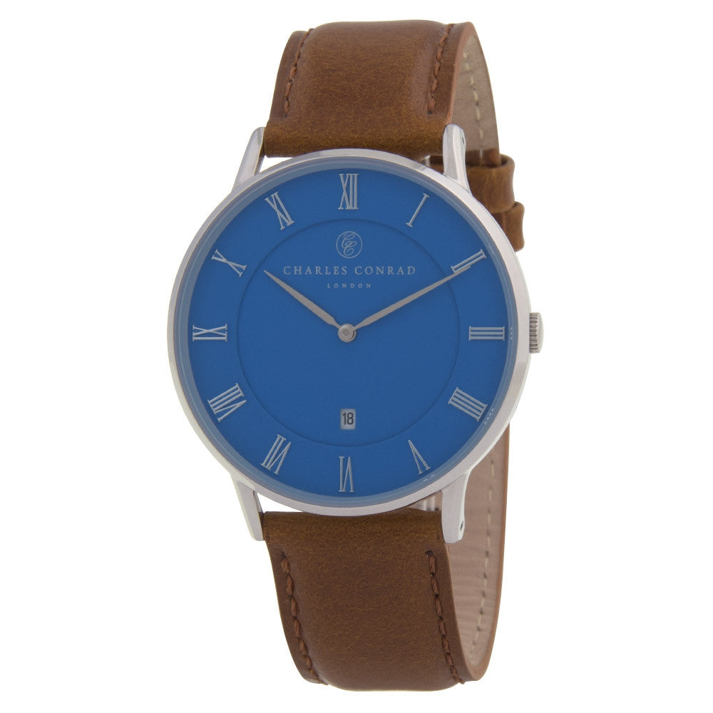 Charles Conrad Blue & Brown Leather Unisex Watch CC01035
