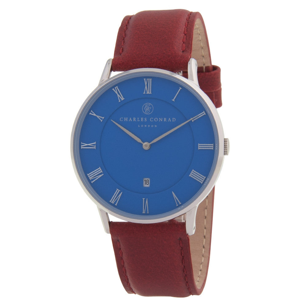 Charles Conrad Blue & Red Leather Unisex Watch CC01036