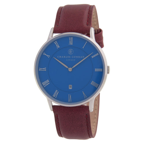Charles Conrad Blue, Red & Silver Leather Watch CC01037