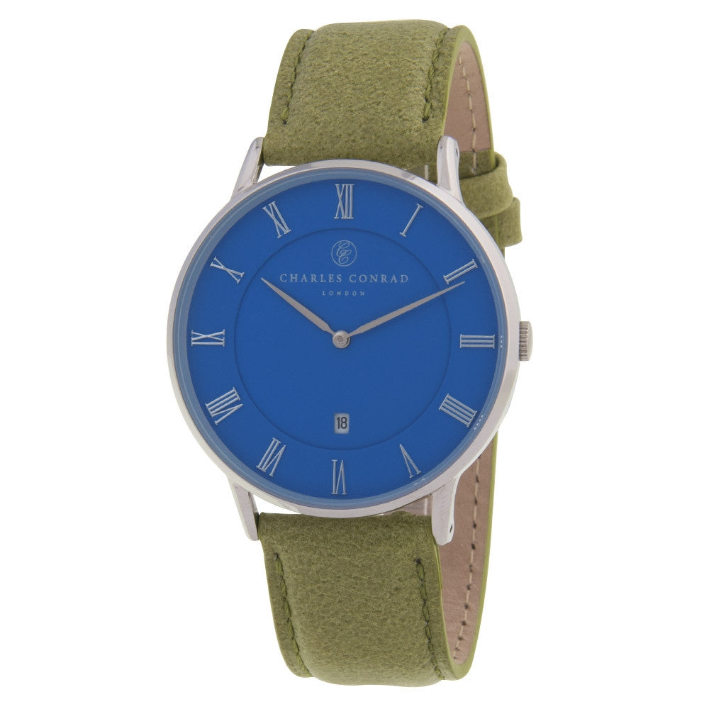 Charles Conrad Blue & Green Leather Unisex Watch CC01038
