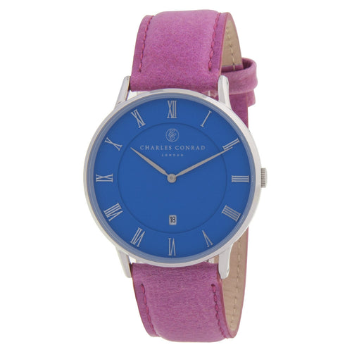 Charles Conrad Blue & Pink Leather Unisex Watch CC01039