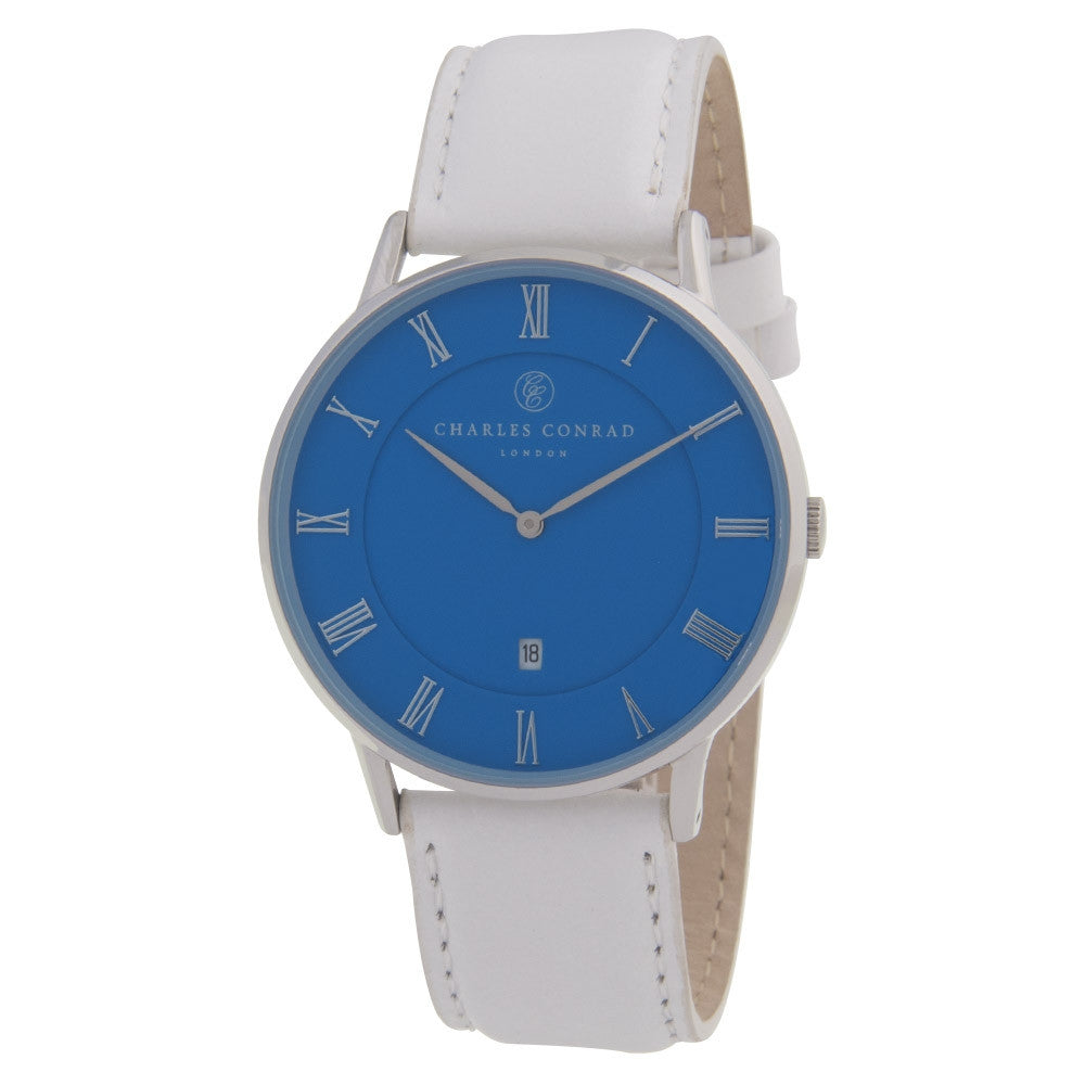 Charles Conrad Blue & White Leather Unisex Watch CC01040