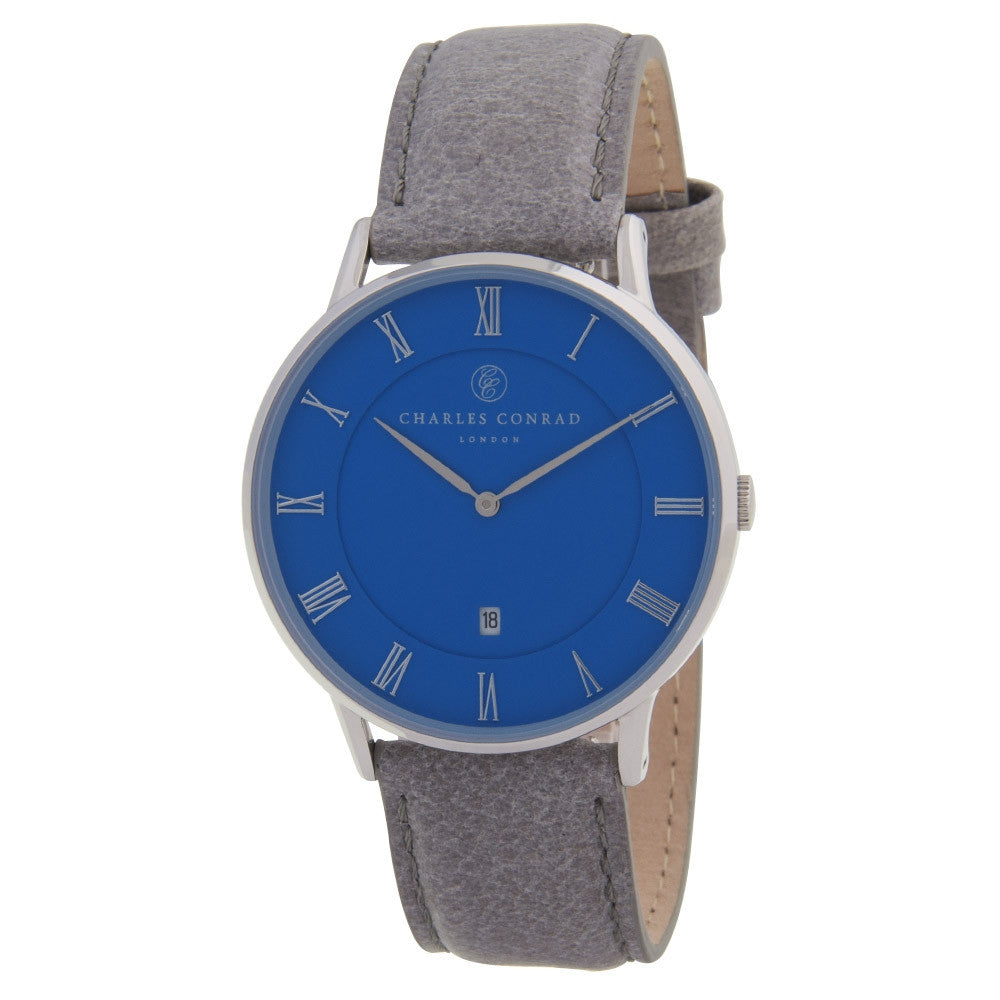 Charles Conrad Blue & Grey Leather Unisex Watch CC01041