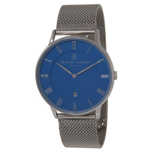 Charles Conrad Blue & Silver Mesh Watch CC01043 (Gold Clasp)