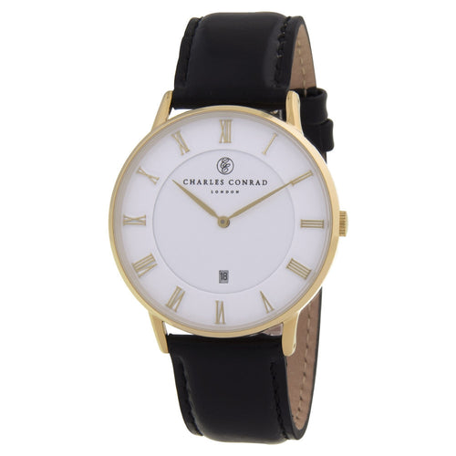 Charles Conrad Black Leather Unisex Watch CC02000