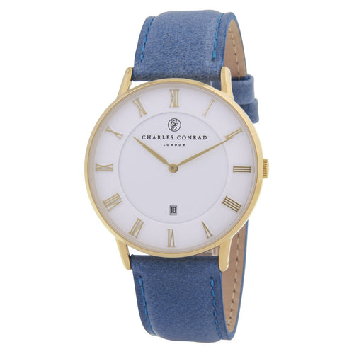 Charles Conrad Gold & Blue Leather Watch CC02001