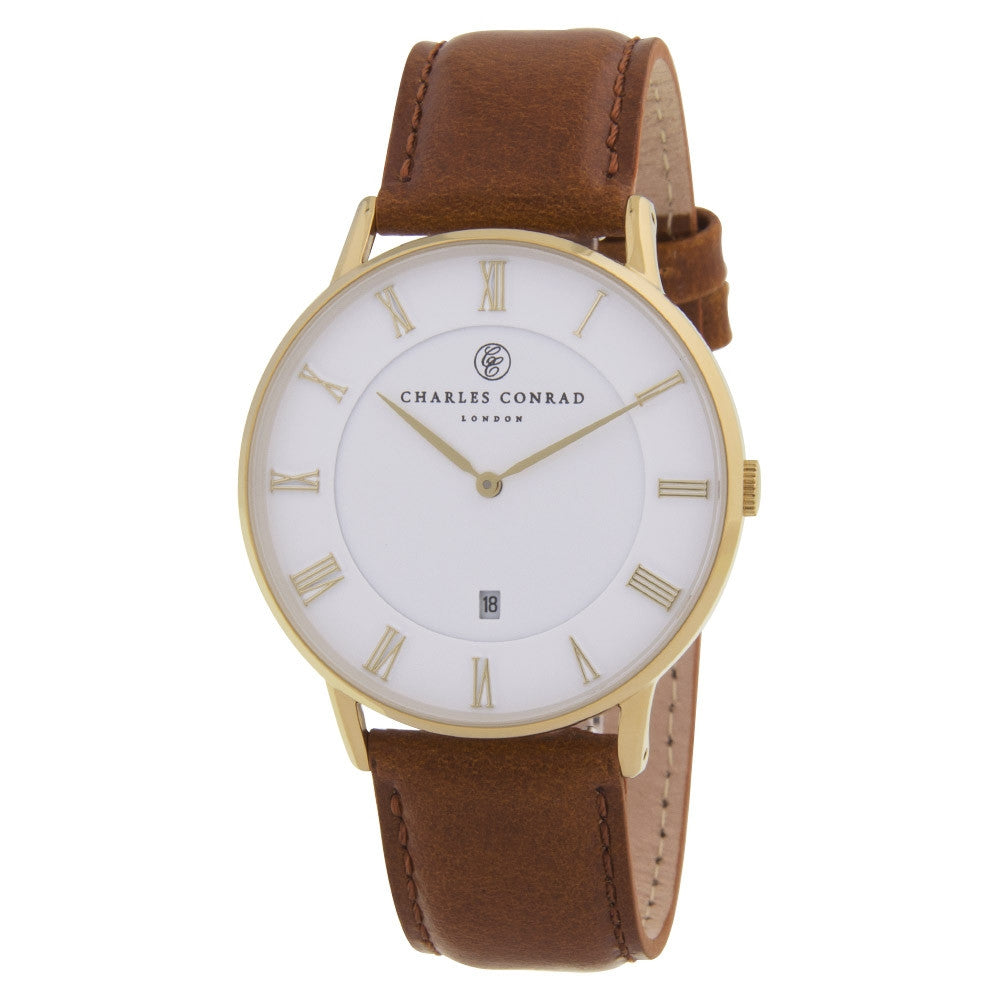 Charles Conrad Gold & Brown Leather Watch CC02002