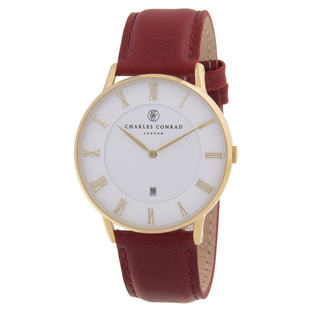Charles Conrad Gold & Red Leather Unisex Watch CC02003