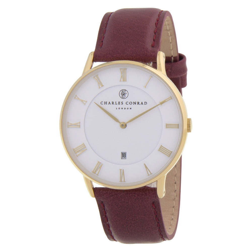Charles Conrad Gold & Burgundy Leather Watch CC02004