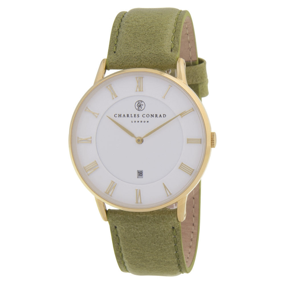 Charles Conrad Gold & Green Leather Watch CC02005