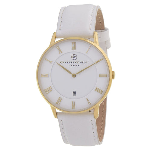 Charles Conrad Gold & White Leather Watch CC02007