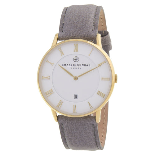 Charles Conrad Grey Leather Unisex Watch CC02008