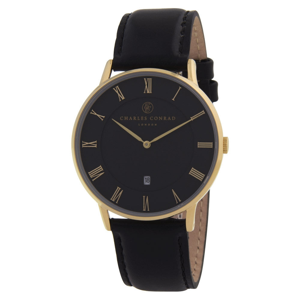 Charles Conrad Gold & Black Leather Unisex Watch CC02011