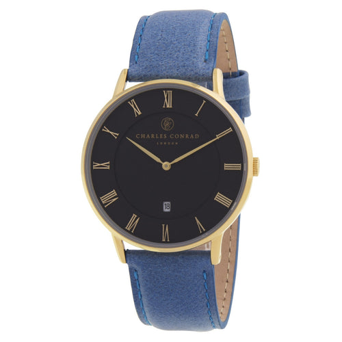 Charles Conrad Black And Blue Leather Watch CC02012