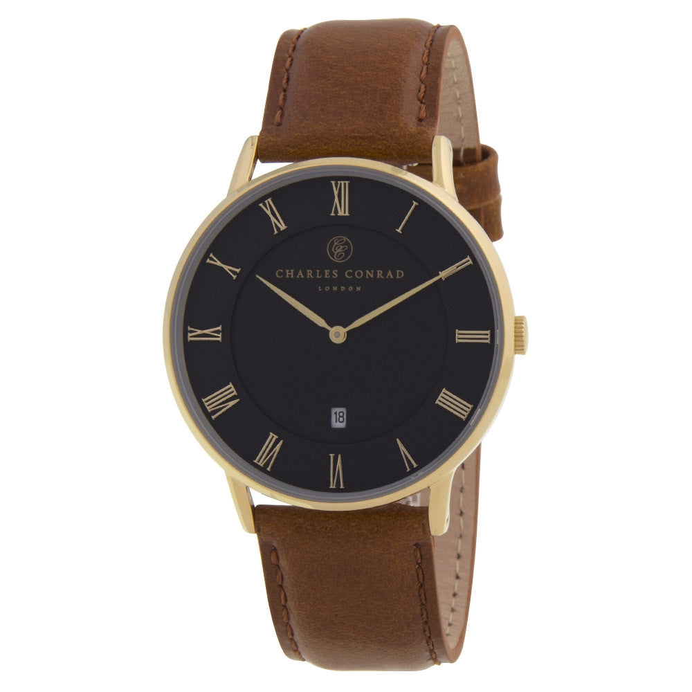 Charles Conrad Black & Brown Leather Watch CC02013