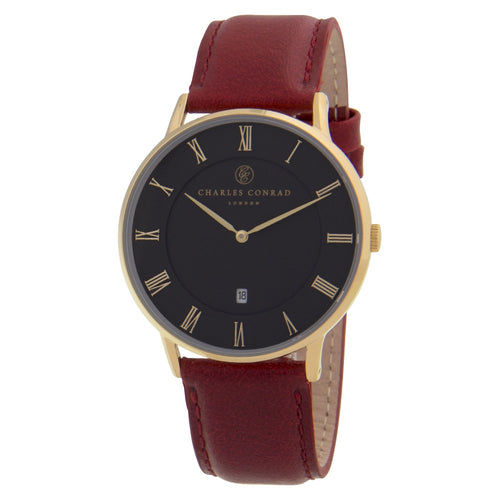 Charles Conrad Black & Red Leather Watch CC02014