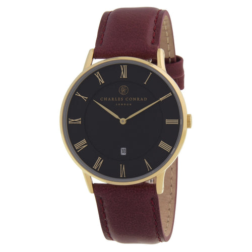Charles Conrad Black & Burgundy Leather Watch CC02015
