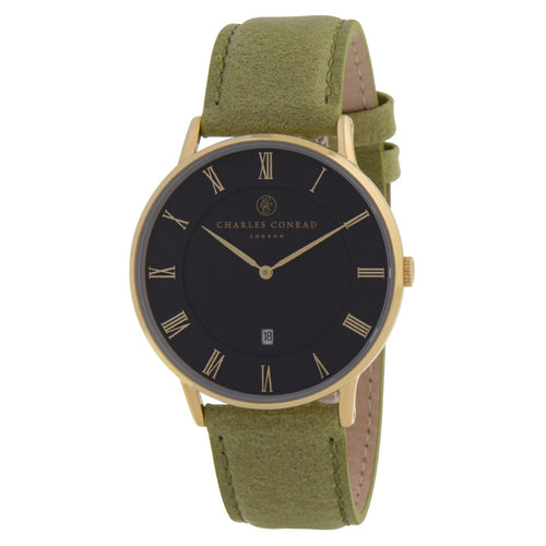 Charles Conrad Black & Green Leather Watch CC02016