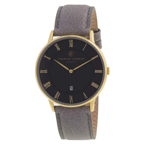 Charles Conrad Black & Grey Leather Unisex Watch CC02019