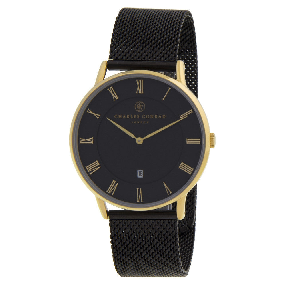 Charles Conrad Black & Gold Mesh Watch CC02022