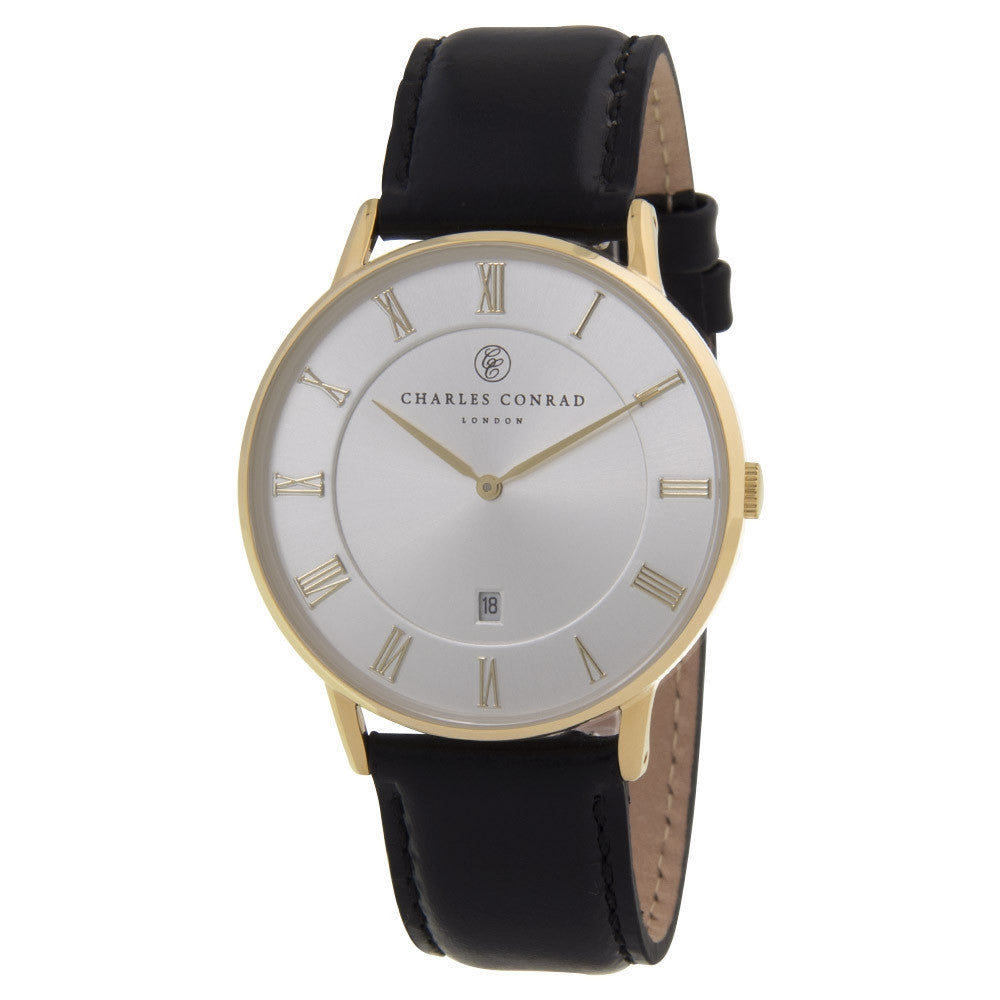 Charles Conrad Gold & Black Leather Watch CC02023