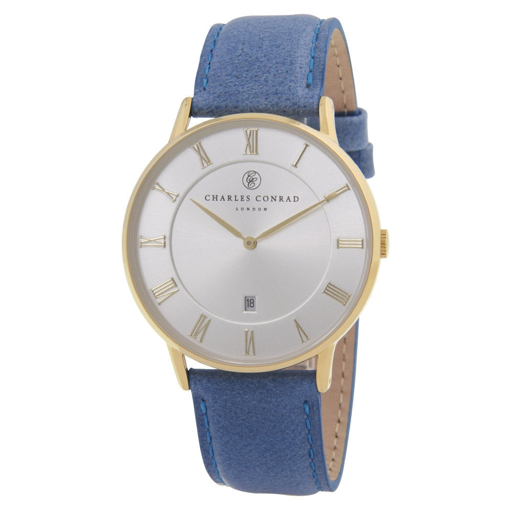Charles Conrad Blue & Gold Leather Watch CC02024