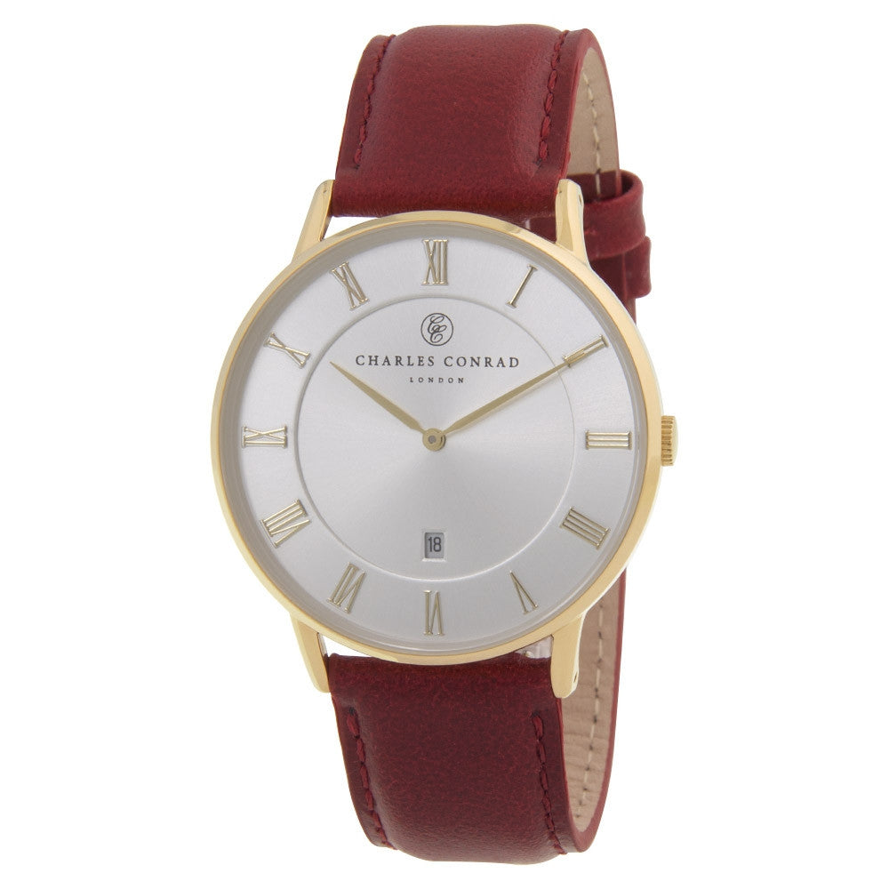 Charles Conrad Red Leather Watch CC02026