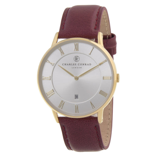 Charles Conrad Gold & Burgundy Leather Watch CC02027