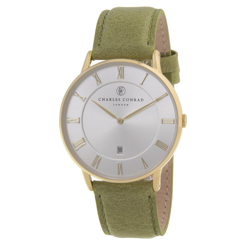 Charles Conrad Green Leather Watch CC02028
