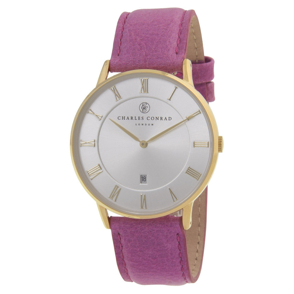 Charles Conrad Gold & Pink Leather Watch CC02029