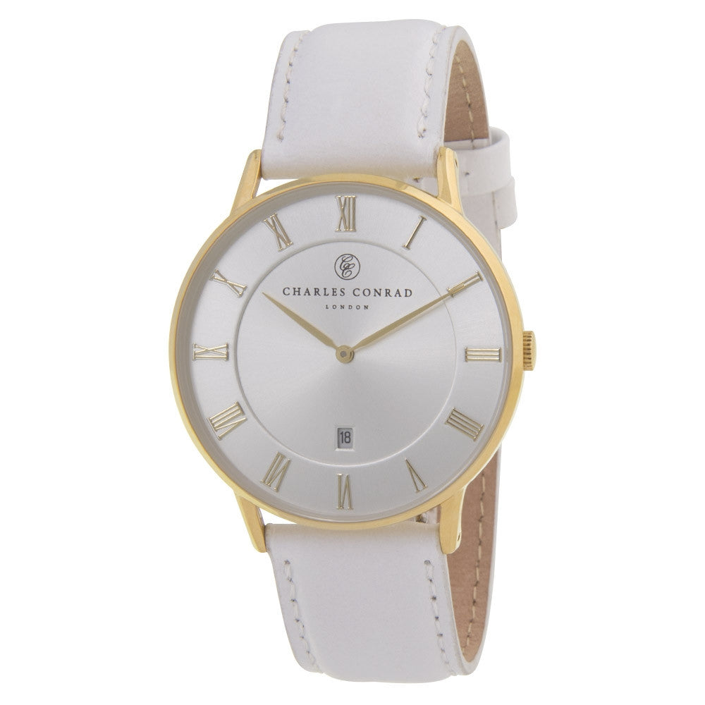 Charles Conrad Silver-Faced White Leather Watch CC02030