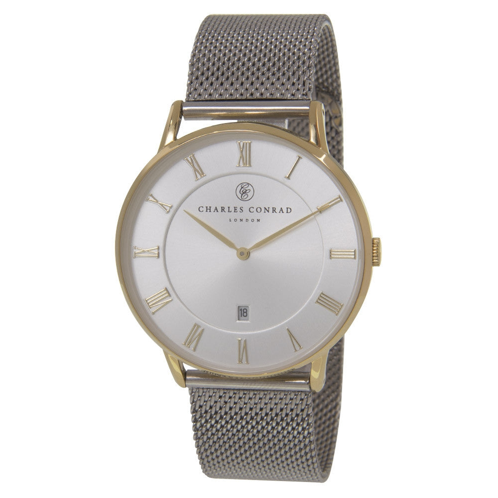 Charles Conrad Gold & Silver Mesh Watch CC02033 (Gold Clasp)