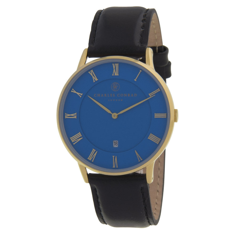 Charles Conrad Blue & Black Leather Watch CC02034