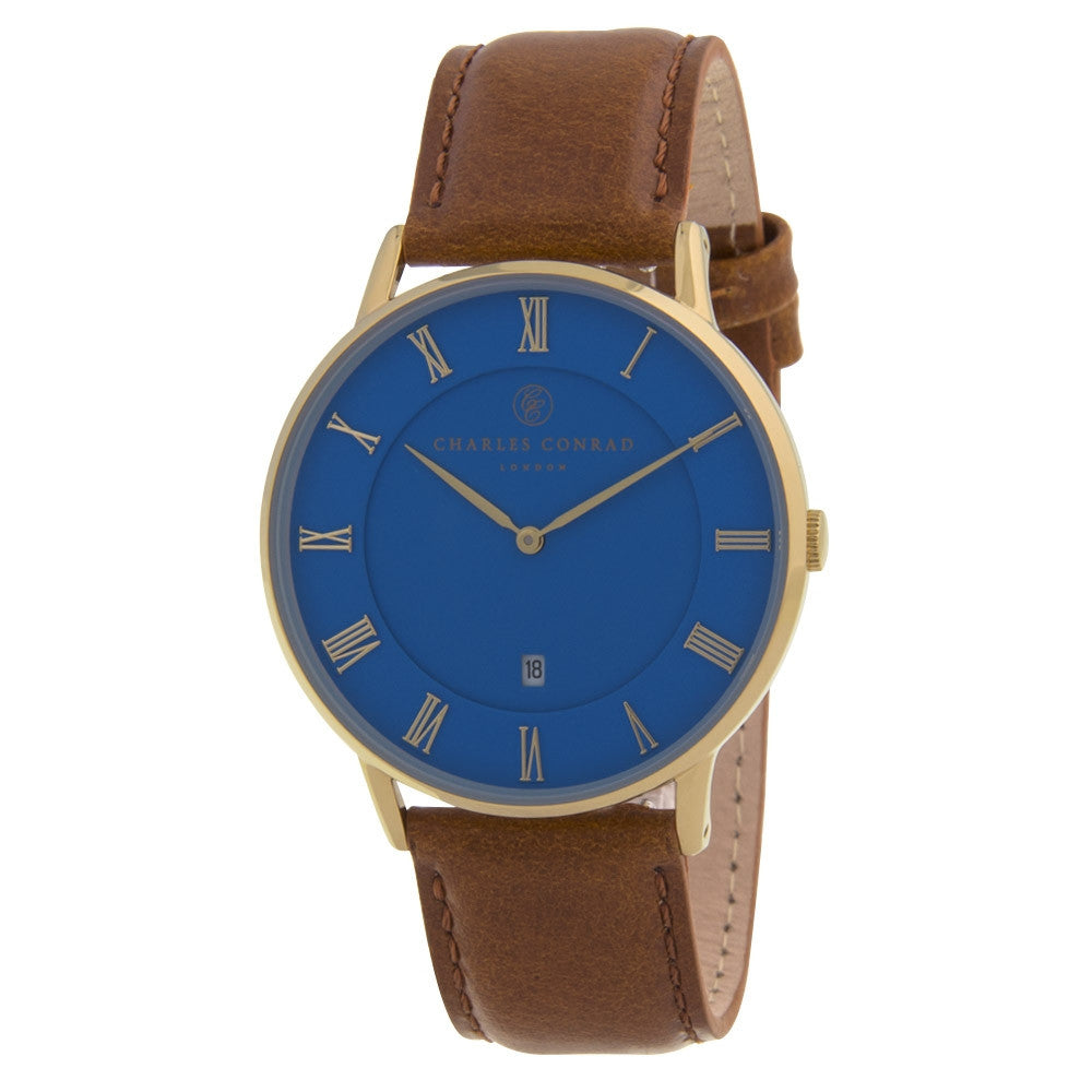 Charles Conrad Blue & Brown Leather Watch CC02036