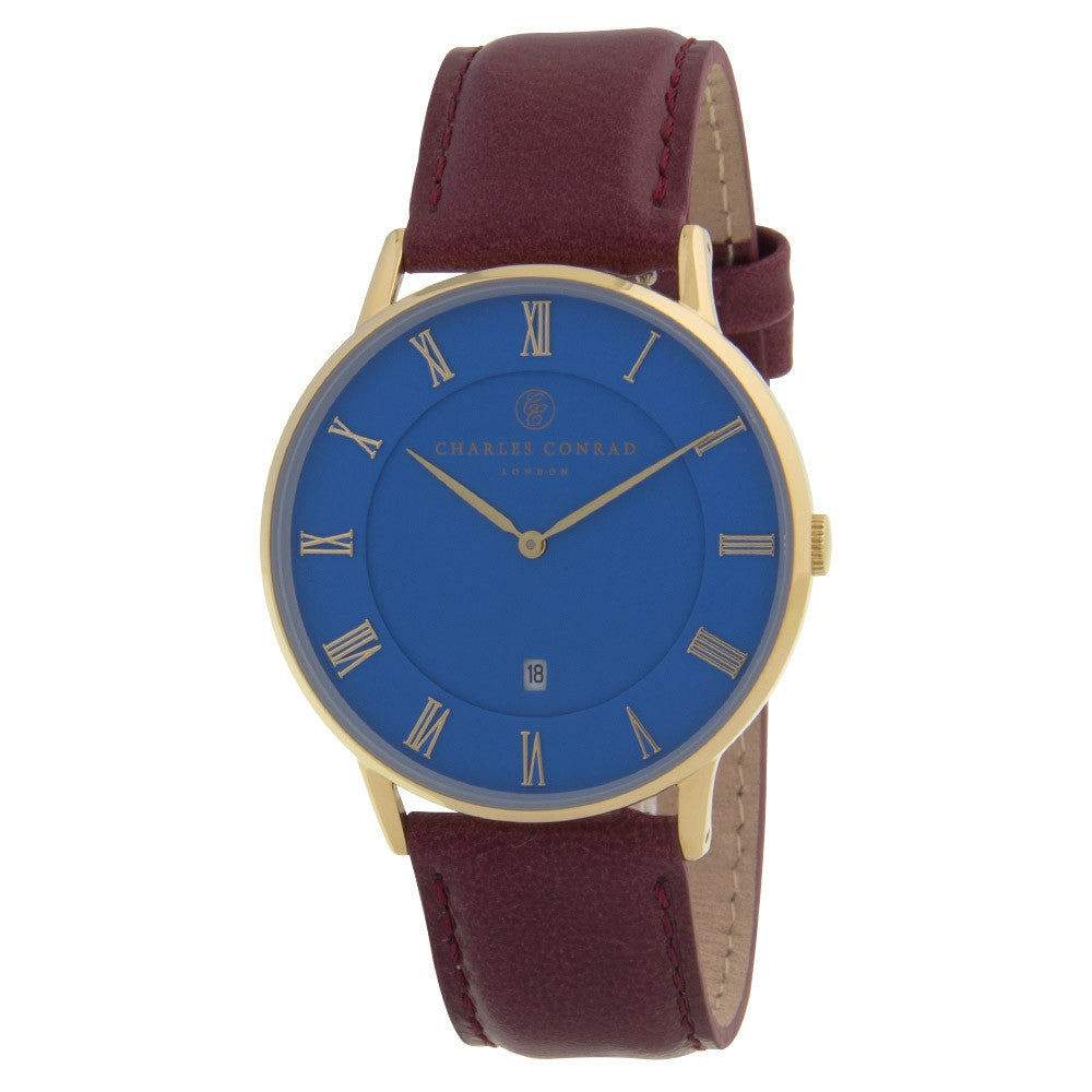 Charles Conrad Blue & Burgundy Leather Watch CC02038