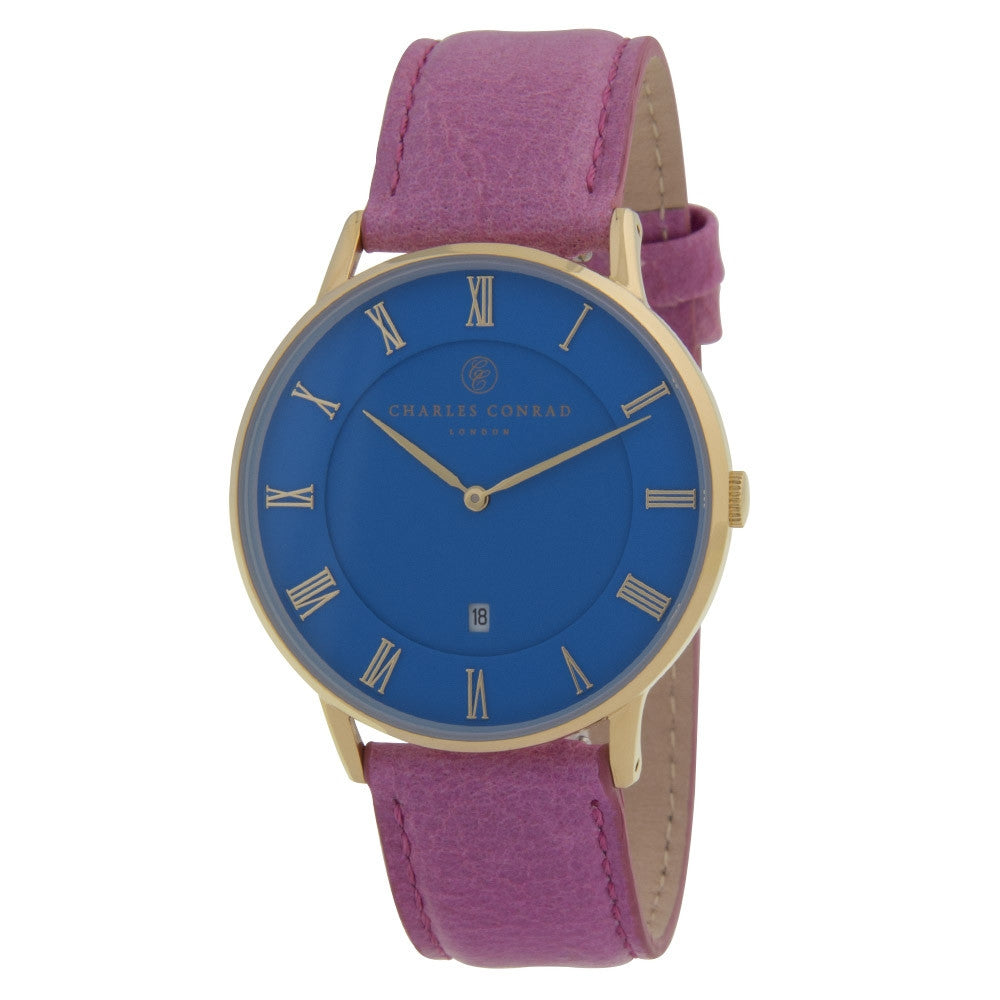 Charles Conrad Blue & Pink Leather Watch CC02040