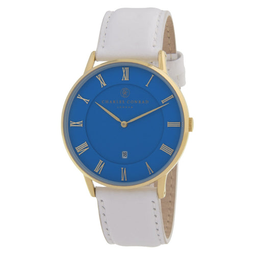 Charles Conrad Blue & White Leather Watch CC02041