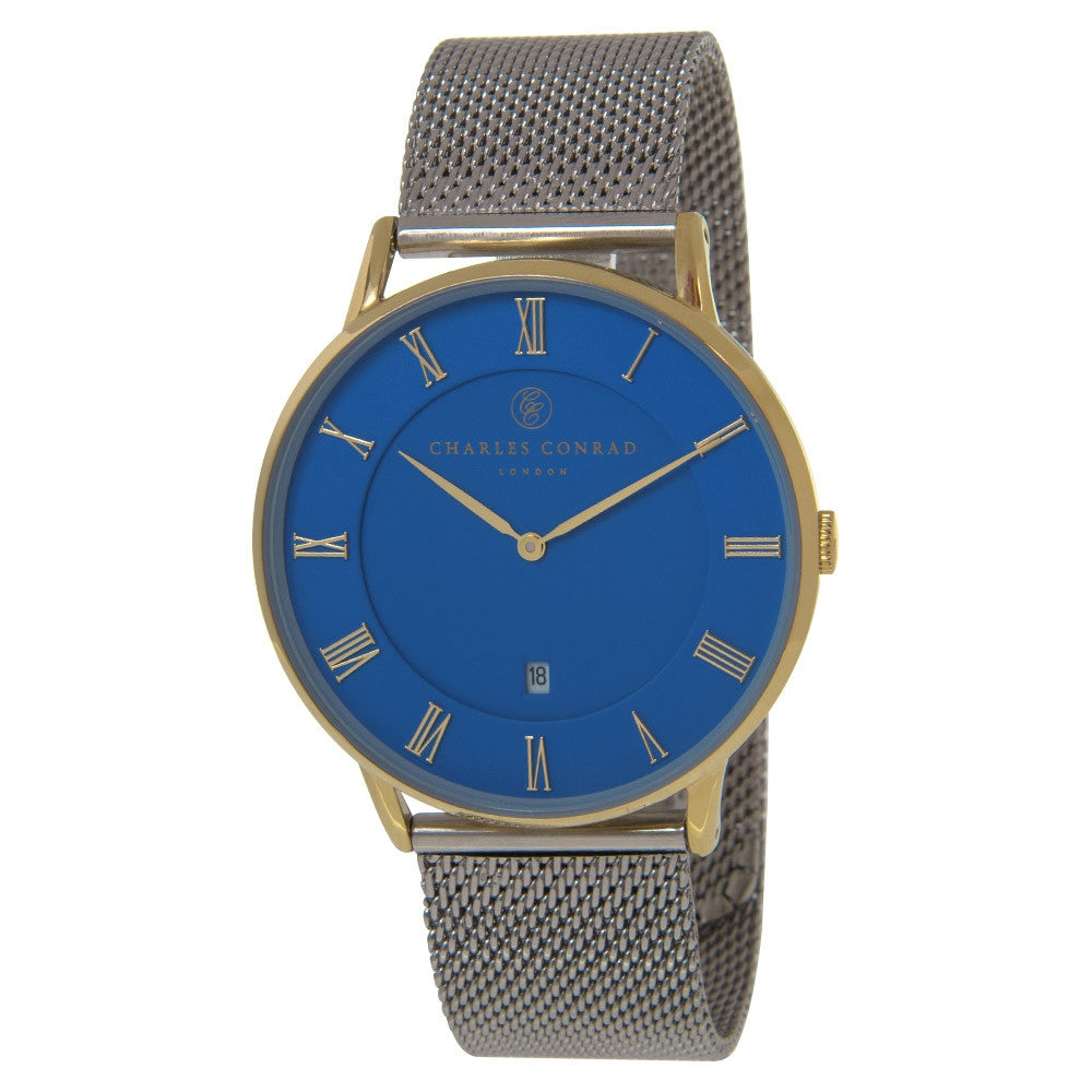 Charles Conrad Blue, Gold & Silver Mesh Watch CC02044